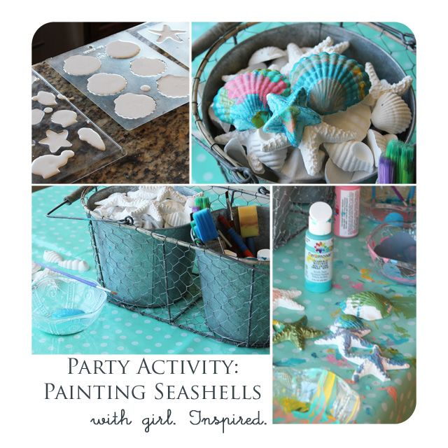 Party activity painting with diy seashells party for Plaster crafts to paint