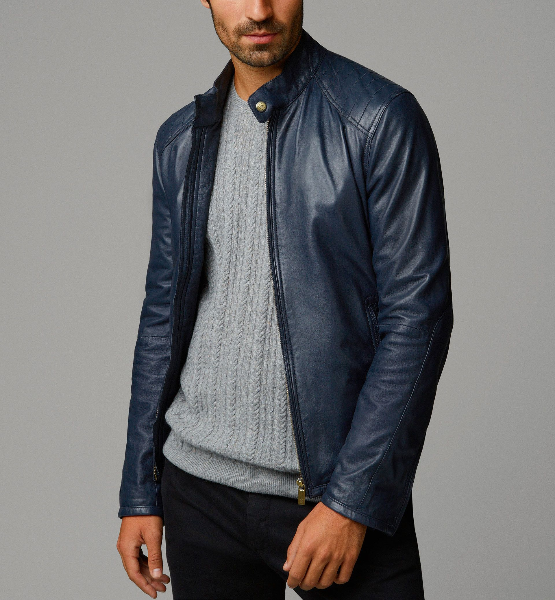 BLUE NAPPA LEATHER JACKET WITH TOPSTITCHING ON THE