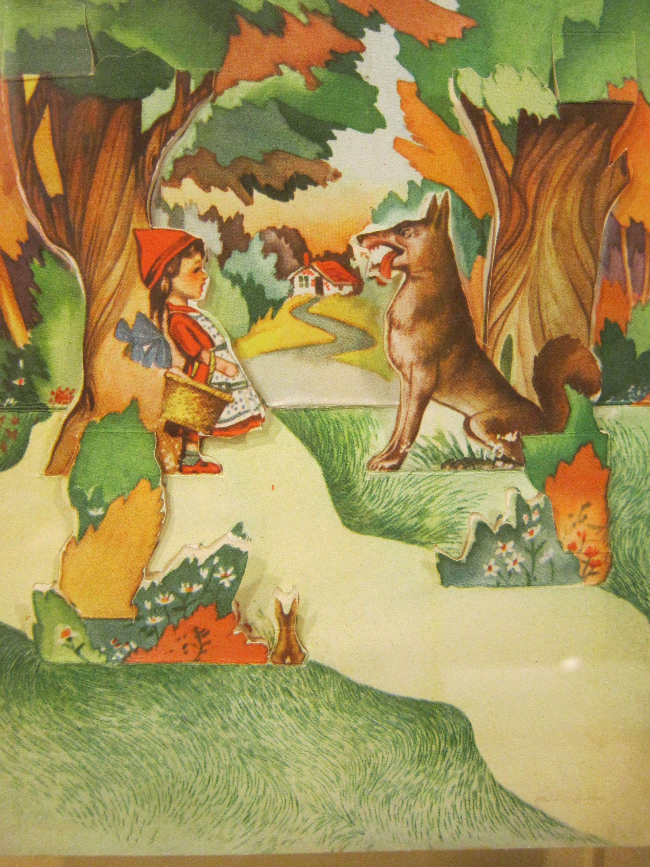 Verrassend Een oude prent van het beroemde sprookje Roodkapje en de wolf RU-48