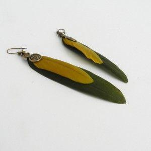 Boucles d'oreilles plumes kaki et moutarde