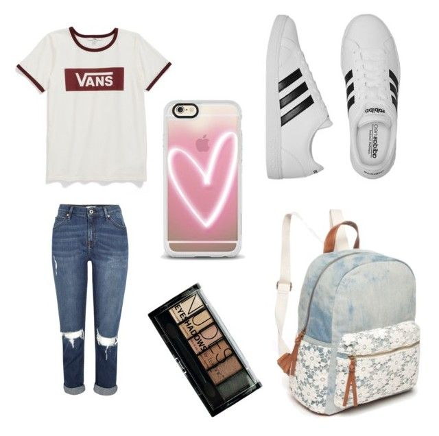"""Back to school"" by dulce-rojas ❤ liked on Polyvore featuring Vans, adidas, Red Camel, Casetify and Boohoo"