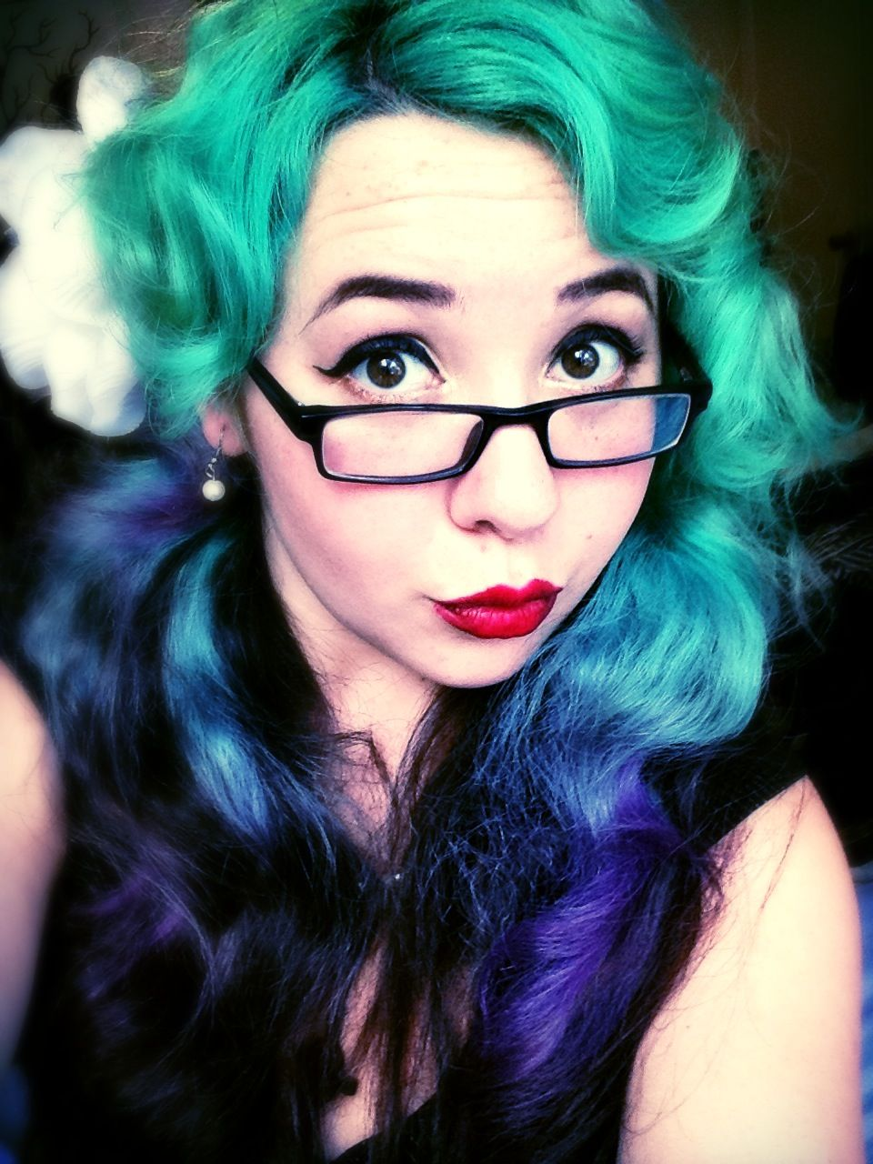 Green ombre dip dyed alternative hair hair pinterest ombre