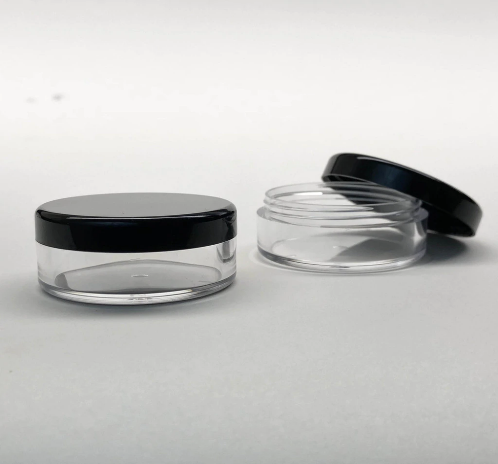 Cosmetic Sifter Jars Plastic Beauty Containers 20 Gram Black Clear Lid 3062 5048 In 2020 Cosmetic Jars Plastic Jars Makeup Containers