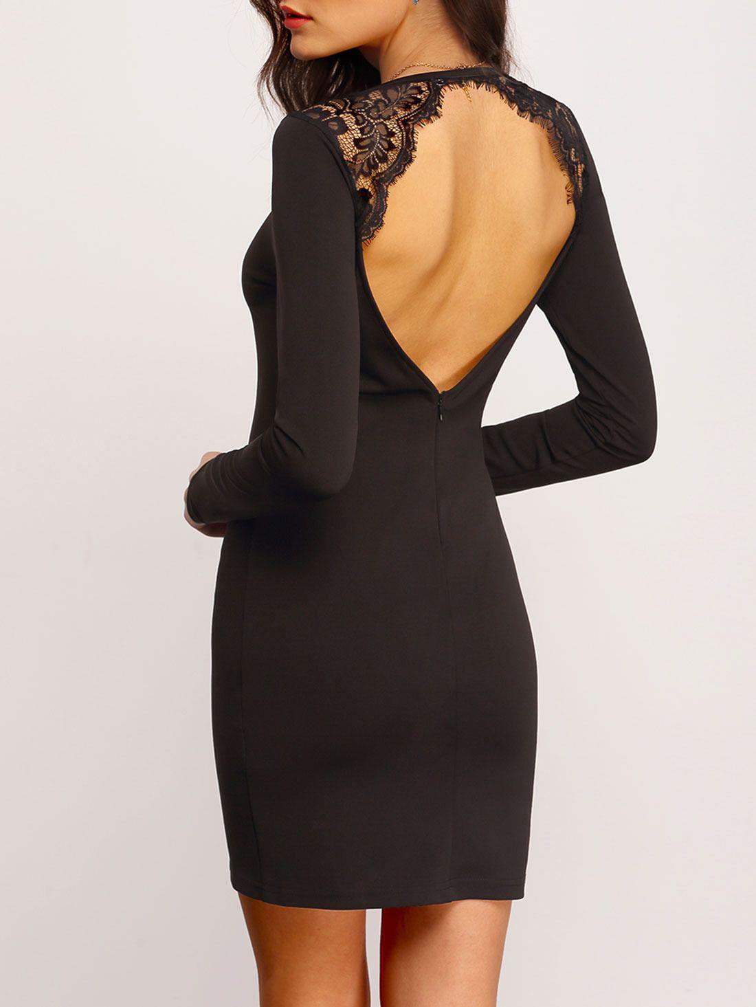 e5c98680406 Чёрное облегающее платье с кружевной вставокй и открытой спиной 884 ...