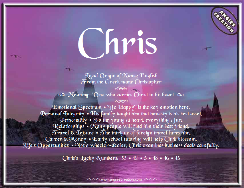 Chris | Angies Creation | Names, Names with meaning, Greek ...