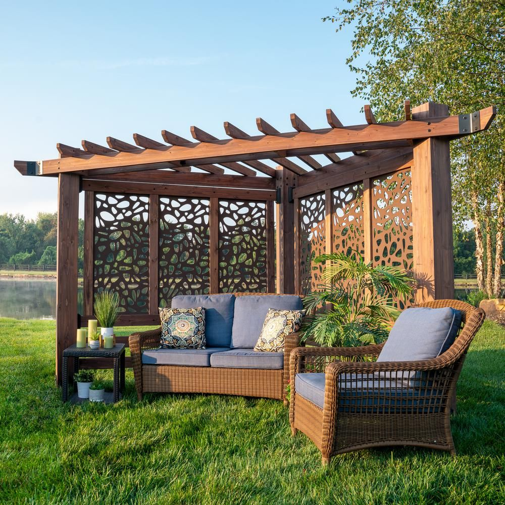 Photo of Backyard Discovery Haven 9 ft. x 12 ft. All Cedar Triangular Cabana Pergola with Pebble Privacy Panels, Browns / Tans