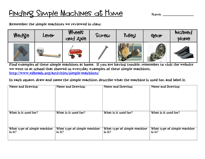 Simple Machines Grade 5 1 Page From Stem Pinterest Simple Machines
