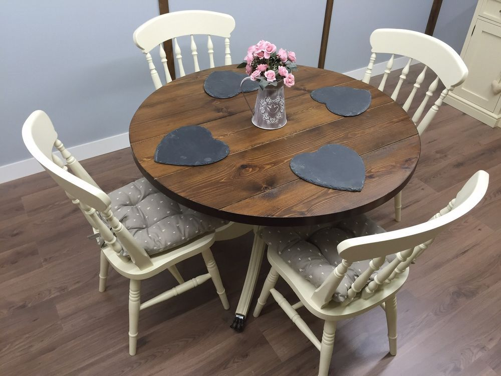 Farmhouse Shabby Chic Round Kitchen Table 4 Chairs Cottage Rustic Oak Pine New Rustic Oak Dining Table Dining Table Upcycle Dining Table Rustic