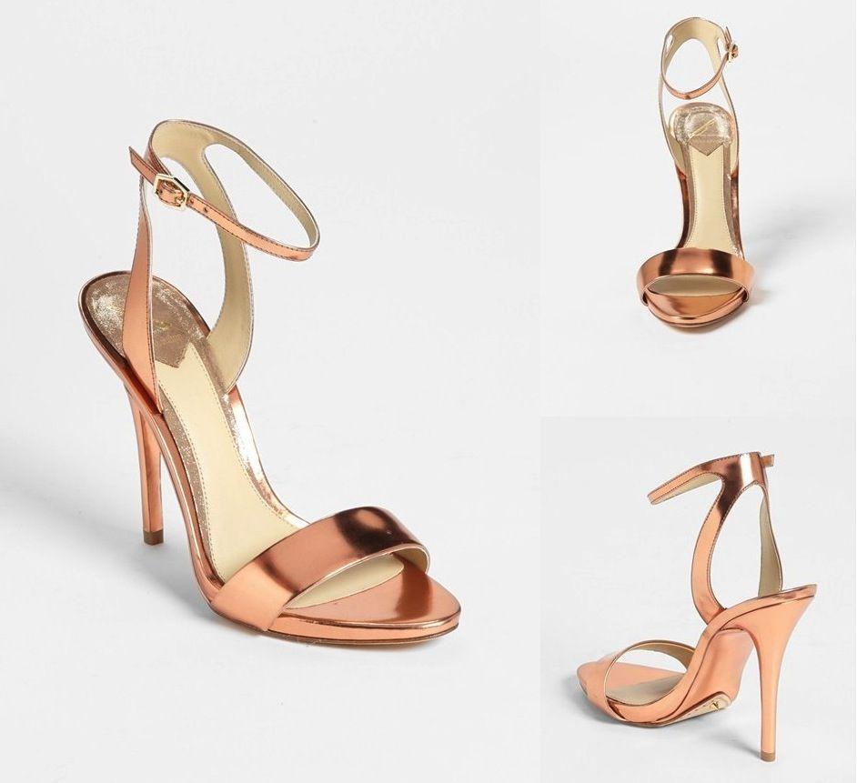 e93e3b72a9d045 Rose gold strappy wedding shoes