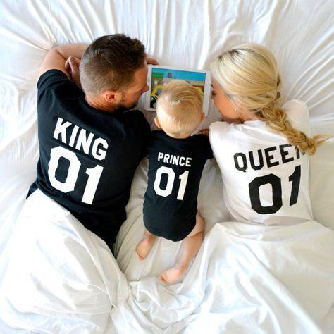 König und Königin 01 Prinz 01 Vater Mutter Sohn Tochter T-shirts, König und Königin Hemden, Paare Shirts, 100 % Baumwolle, UNISEX, Preis pro Artikel #father