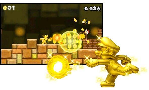 Der Goldene Mario Beim Abräumen Der Münzen In New Super Mario Bros 2