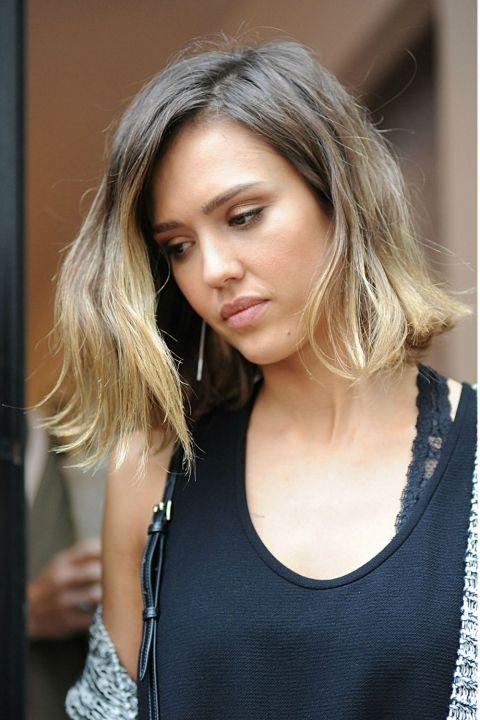 Balayage Celebrity Inspiration Dip Dye Hair Short Balayage