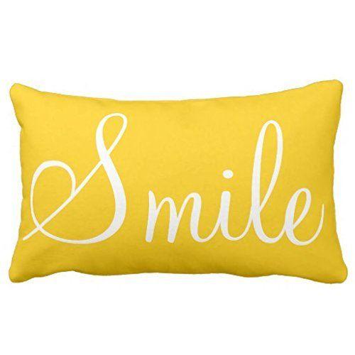 Himoud SMILE Sunshine Yellow Decorative Lumbar Pillowcase Custom Yellow Decorative Bed Pillows