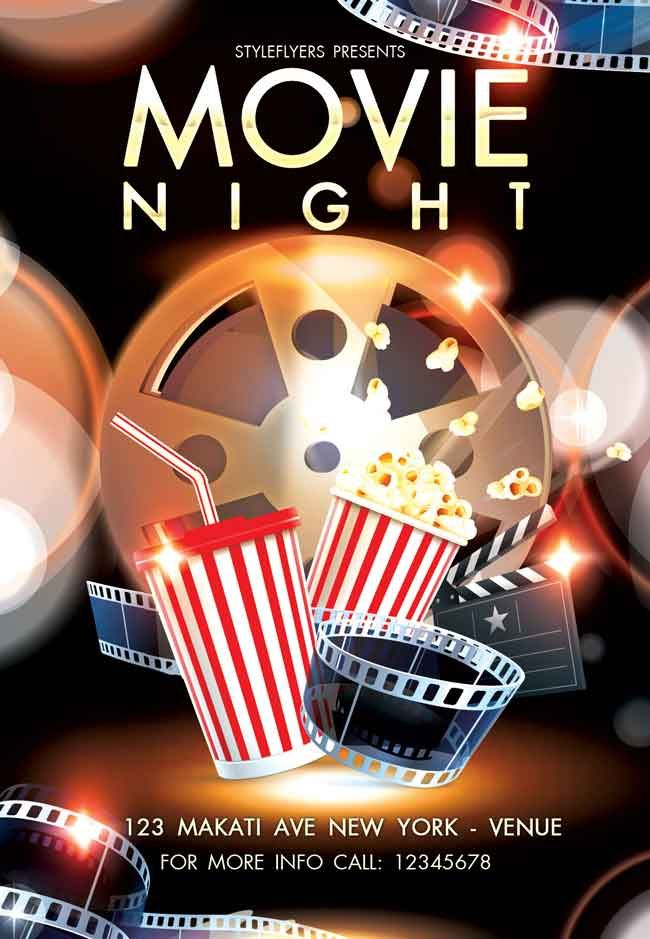 Movie-Night-Flyer-PSD-free | Fhcaca work | Pinterest | Plantilla de ...