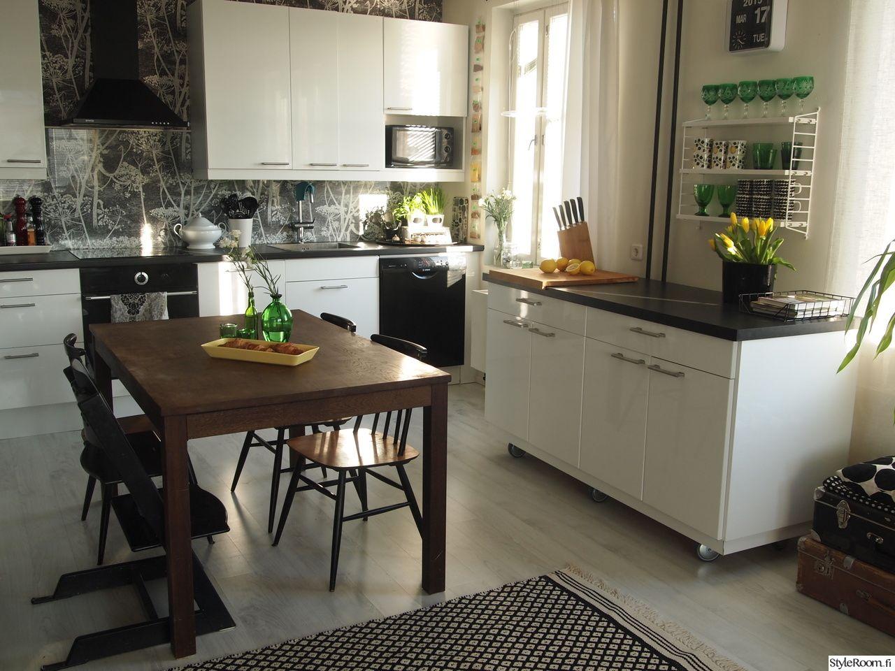 mustavalkoinen,mustavalkoinen sisustus,keittiö,keittiön sisustus,saareke,matt