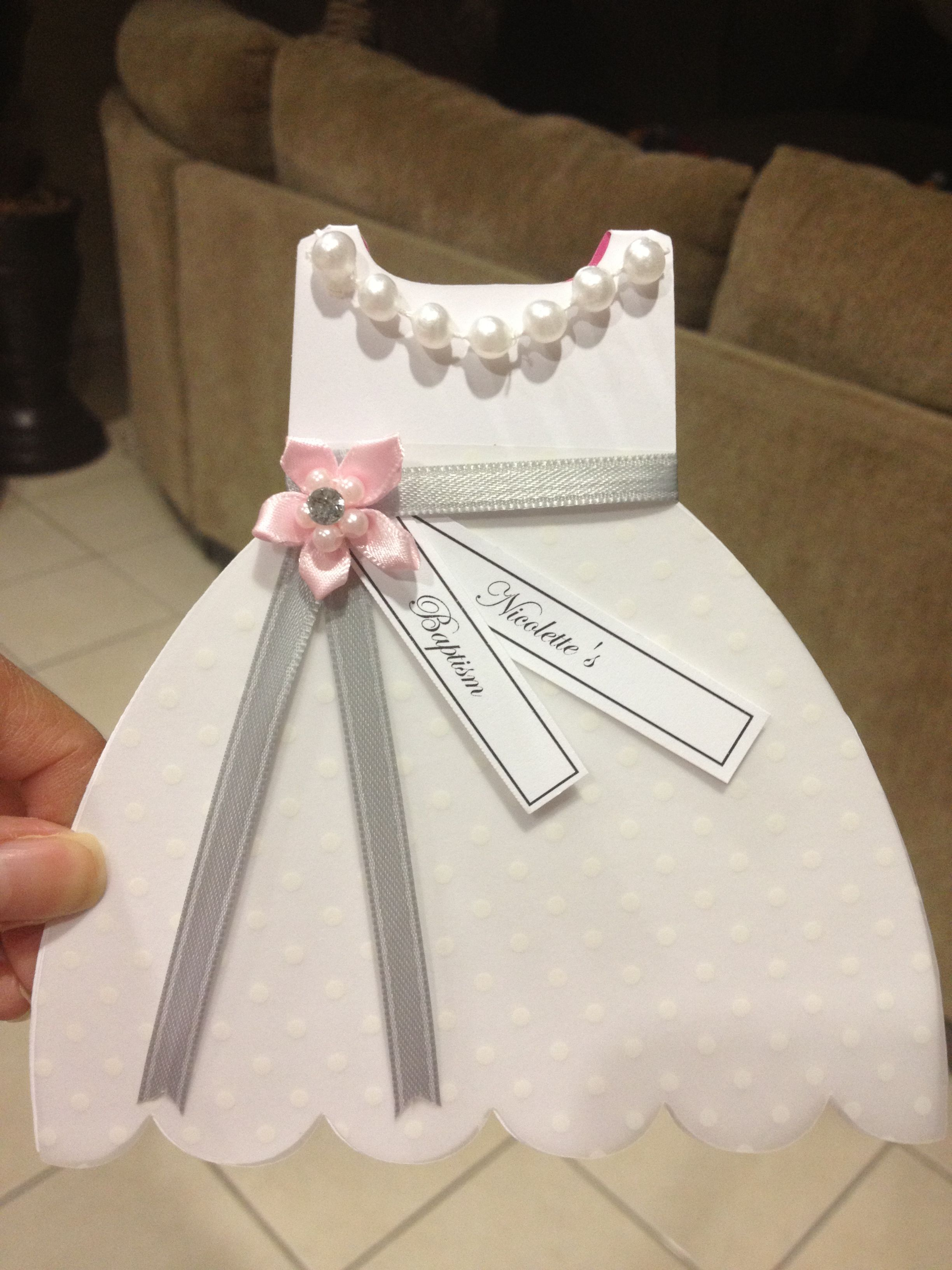 Baptism Christening Gown Dress Cutout Invitation Inquire By