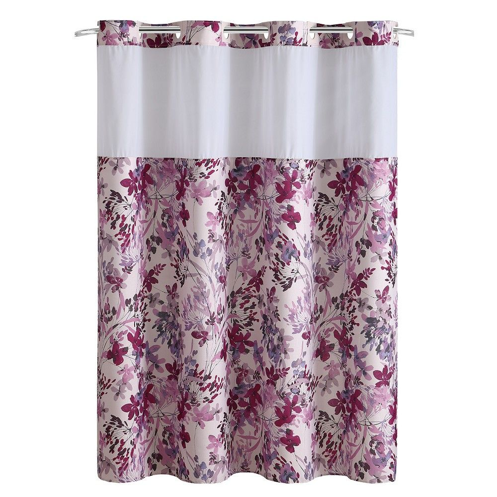 Hookless Watercolor Floral Shower Curtain With Liner Pink Floral