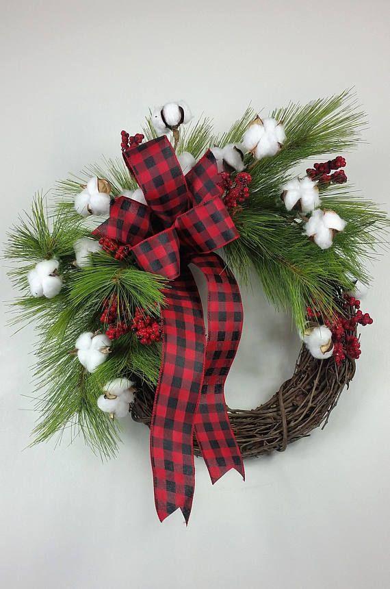 Farmhouse Christmas wreath Fixer Upper Christmas wreath Christmas