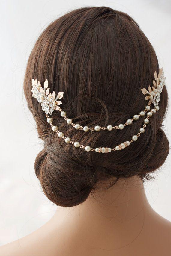 Rose Gold Hair Chain Wedding Headpiece Pearl Draped Bridal Hair Comb Set Leaf Head Piece Leaf Hair Vine Bridal Hair Accessory ANWEN #hairchains