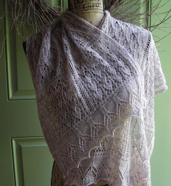 Knitting Pattern - easy lace rectangle shawl cowl wrap scarf ...