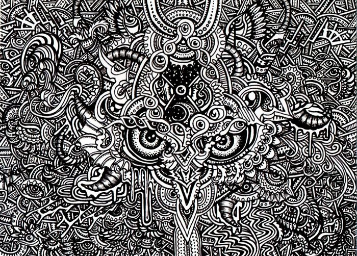A Trippy Psychedelic Drawing By Japanese Artist Lutamesta Of