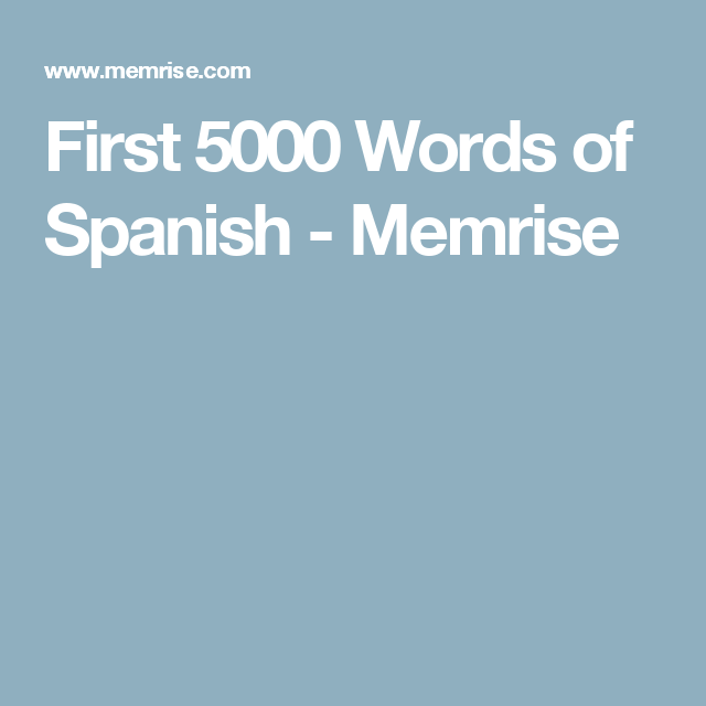 First 5000 Words of Spanish - Memrise | Learn Hebrew