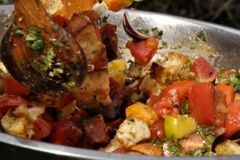 Bread Salad - get the recipe now. It will motivate your tomato growing, because once you taste this salad you will wonder how you ever lived without it. The more colourful heirloom tomatoes the merrier!!