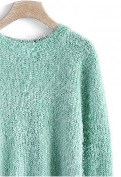 Basic Fluffy Sweater in Mint - Retro, Indie and Unique Fashion