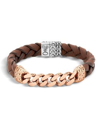 John Hardy Classic Chain Men S Bracelet With Leather Strap Braided Leather Bracelet Bracelets For Men Mens Bracelet Designs