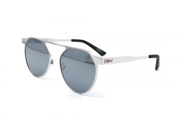 0c23812199c3a Modelo futurista totalmente cinza metalizado, destaque para a lente também  na cor cinza espelhada. R 139,90.   Diffusal - óculos de sol femininos!