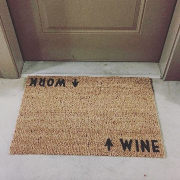 Wine / Work Door Mat (doormat) I Made My Own With A Plain Doormat,  Stencils, Sharpie Marker Then Black Paint.