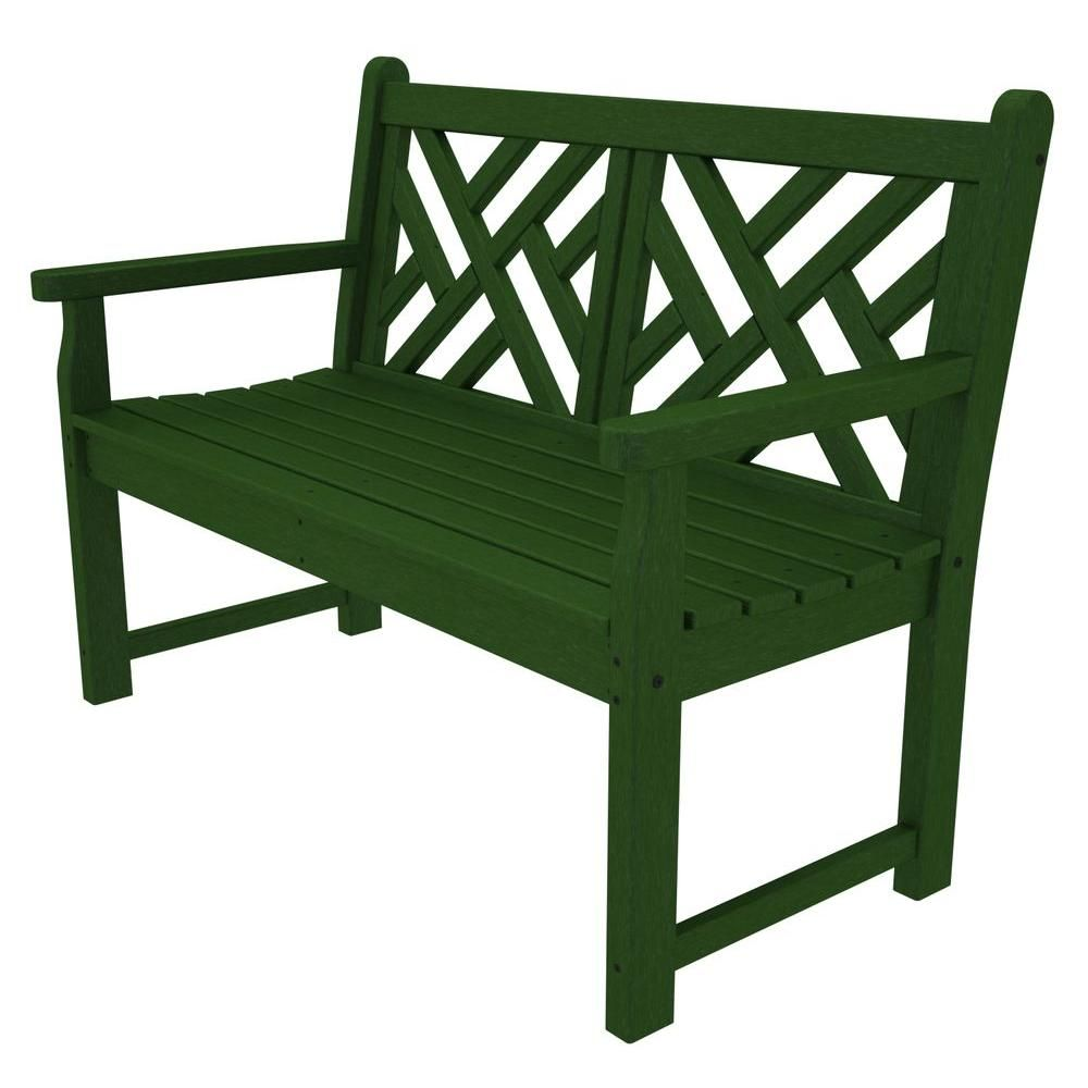 Brilliant Polywood Chippendale 48 In Green Patio Bench Products Squirreltailoven Fun Painted Chair Ideas Images Squirreltailovenorg