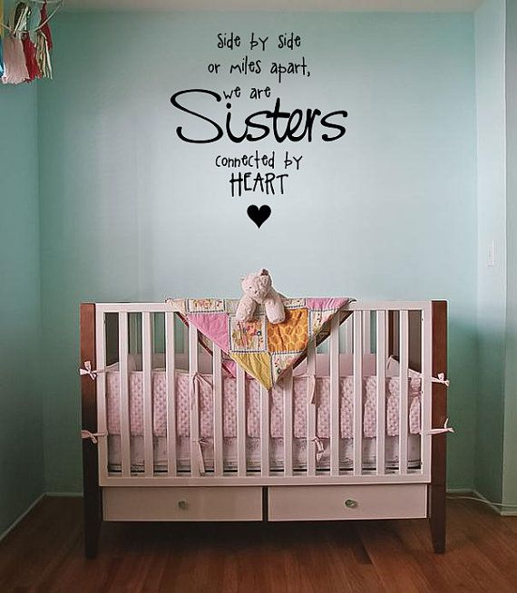 Sisters Connected By Heart Wall Quote - Car Decal - Custom Wall Decals - Wall Quote Decals - Sister Quotes - Wall Murals - Girls Room Decor & Sisters Connected By Heart Wall Quote - Car Decal - Custom Wall ...