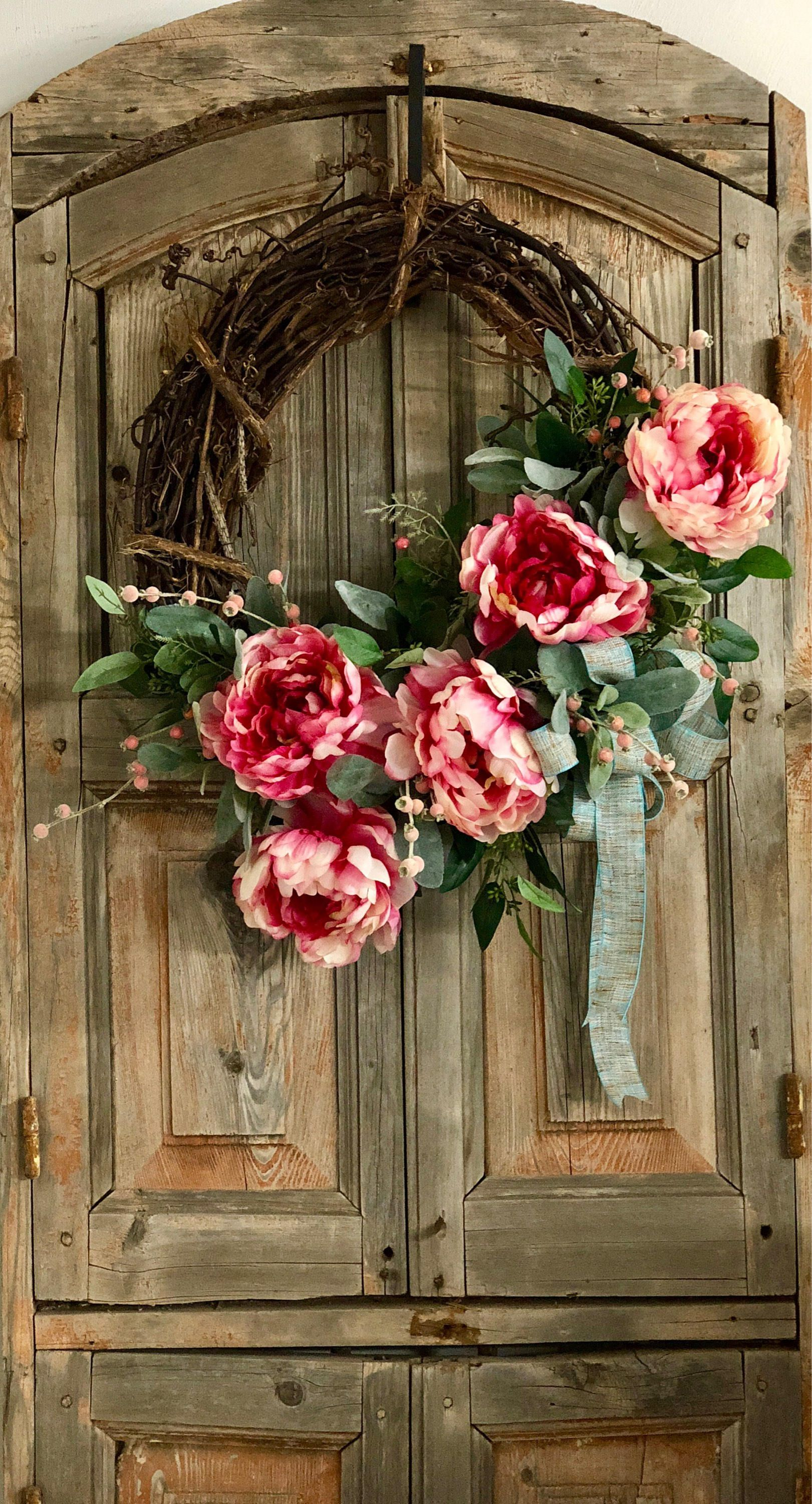 The Annabelle raspberry and cream peony wreath for front door/spring ...