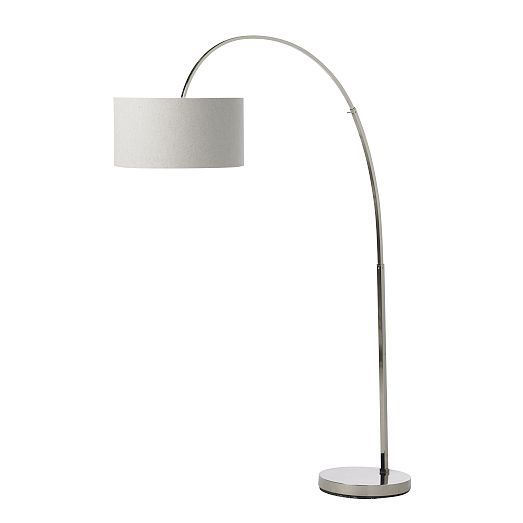 Overarching Linen Shade Floor Lamp - Polished Nickel | Polished ...