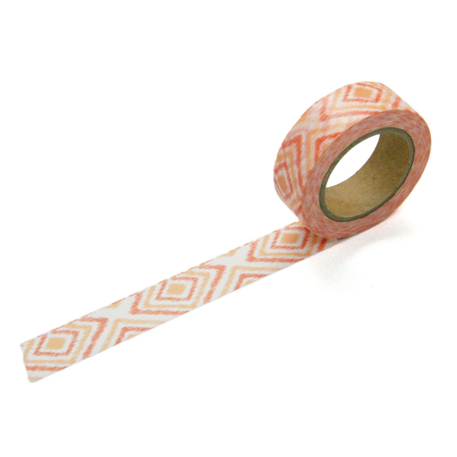 Ikat Diamond Pattern Washi Tape, Coral Fabric Tape, 15Mm X