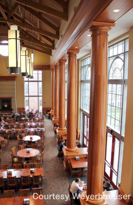 30 Tall Lyptus Hardwood Columns In Muhlenberg College S Seegers Student Union College Acceptance Wood Interiors Design