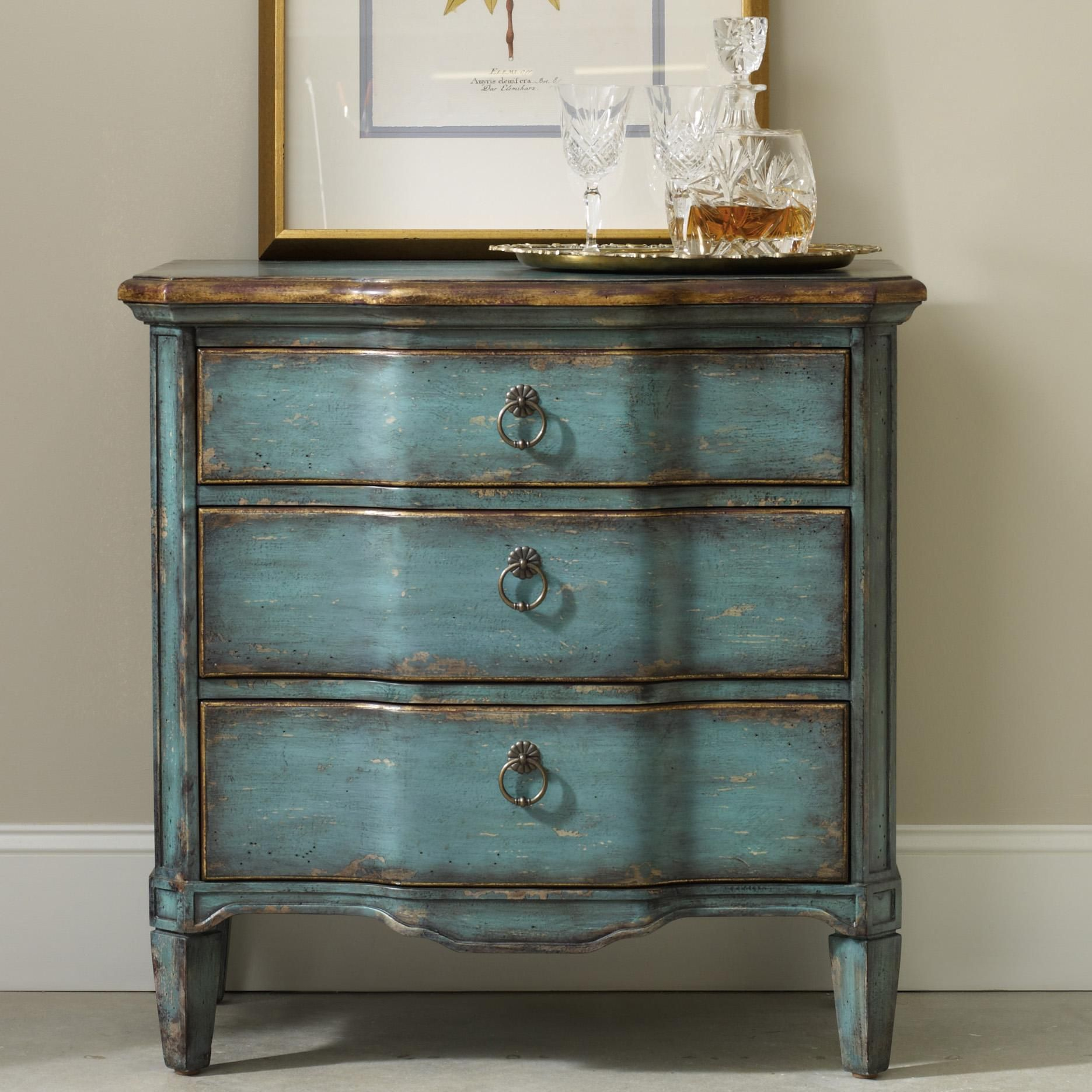 Living Room Accents Three Drawer Turquoise Chest By Hamilton Home