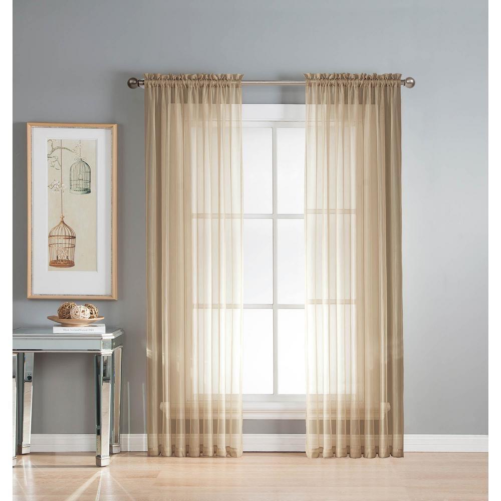 Window Elements Sheer Linen Solid Voile Extra Wide Sheer Rod