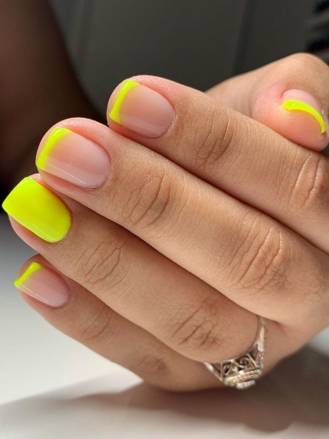 Cute Yellow Neon French Tip Nails Shiny Nails Designs Short Acrylic Nails French Tip Nails
