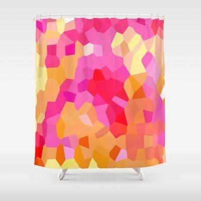 pink and yellow shower curtain. Stunning Pink  Orange and Yellow Mosaic Cubes Shower Curtain by Celeste Sheffey of Khoncepts