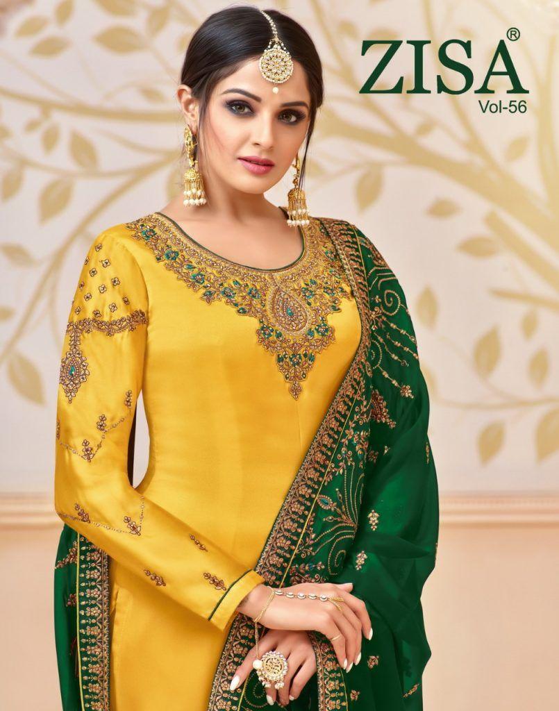 164f4c6864 meera trendz zisa vol 56 satin georgette long straight salwar suit  collection - Krishna Creation