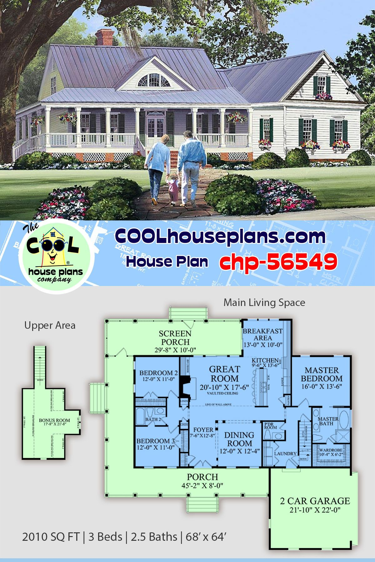 Southern Style Home Plan With Large Wrap Around Porch Screened Porch For The Country Life Southern House Plans Basement House Plans Porch House Plans