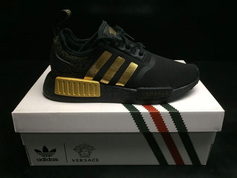 Men Adidas Originals NMD R1 x Versace Black lic Gold BA7250