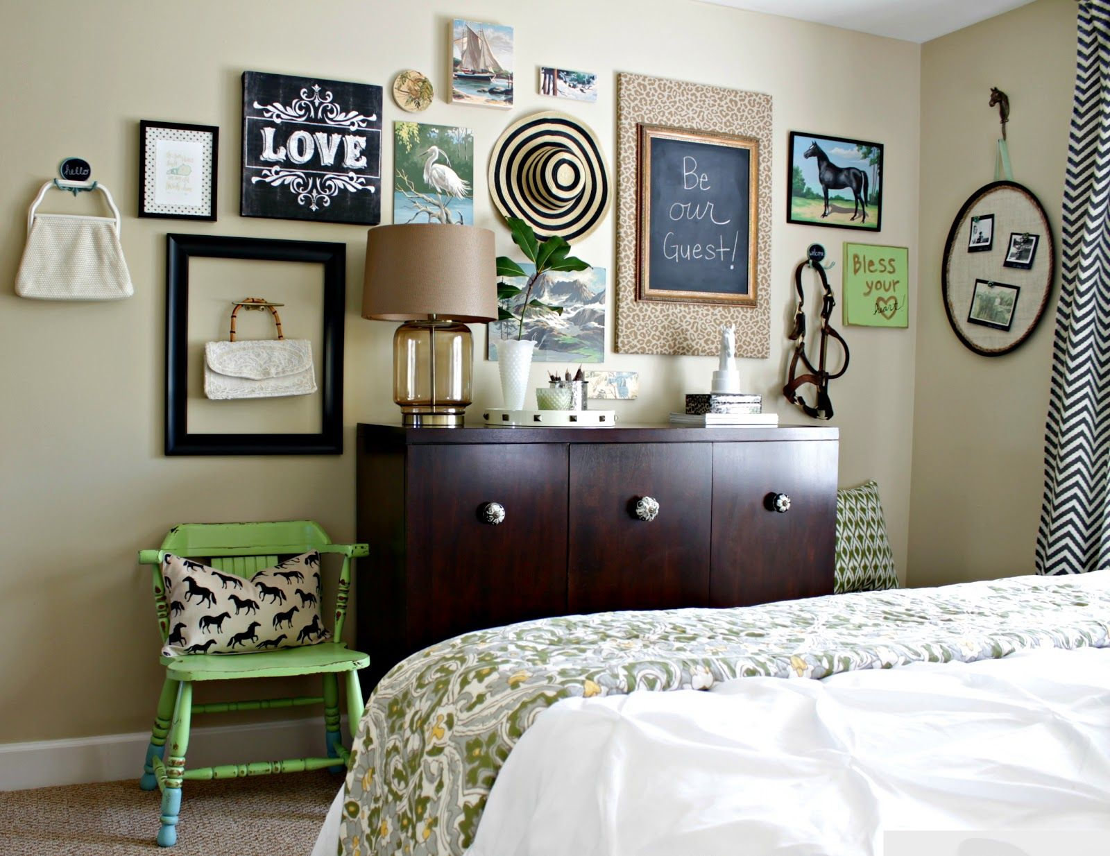 Master bedroom gallery wall  Spray Painted Green Chair  Gallery wall Spray painting and Walls