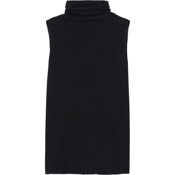 The Row Leona merino wool and cashmere-blend turtleneck sweater (€610) ❤ liked on Polyvore featuring tops, sweaters, shirts, dresses, tanks, black, black sleeveless shirt, loose black shirt, tailored shirts and sleeveless turtleneck