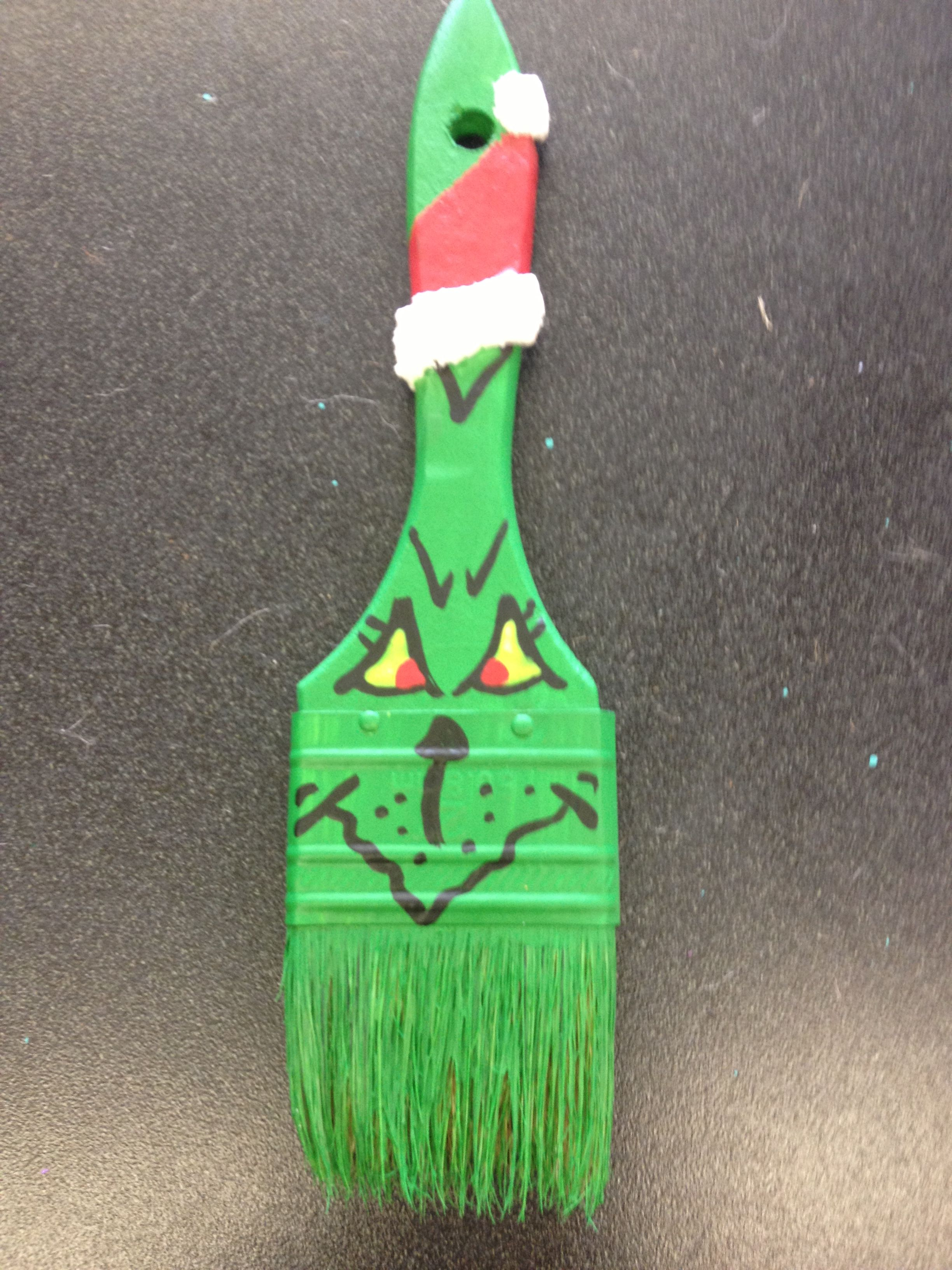 Painted grinch paint brush ornament | My crafts ...