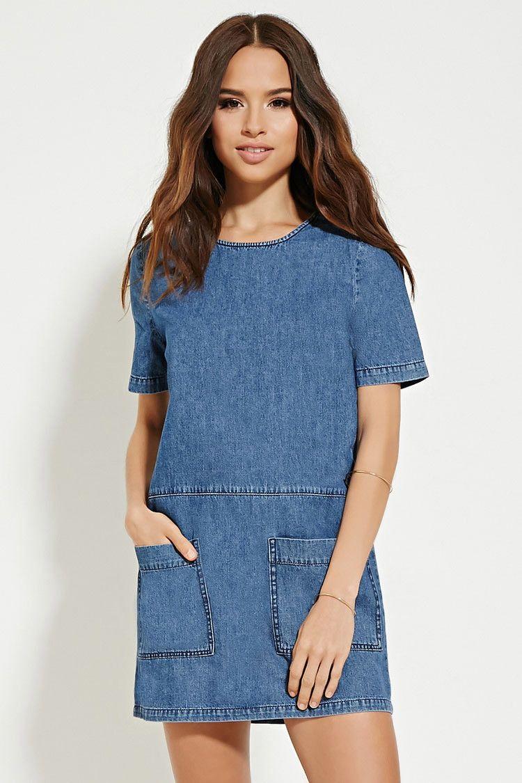 e46faaa0ea Two-Pocket Denim Shift Dress