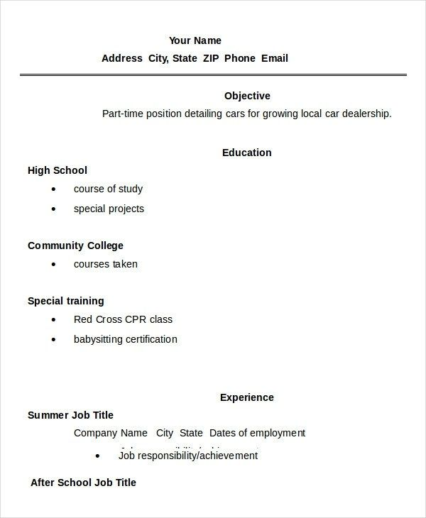 24 Best Student Sample Resume Templates: Cool Resume Template High School Collection 11 High School
