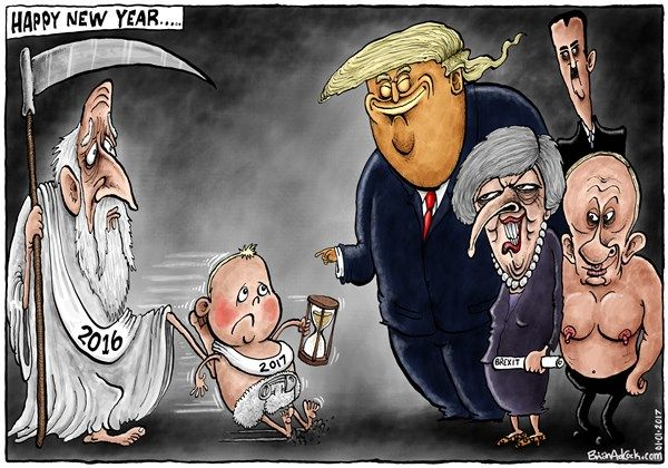 Happy New Year 2016 Trump Cartoons Cartoon Political Satire